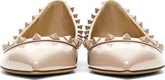 Valentino Taupe Patent Leather Rockstud Flats