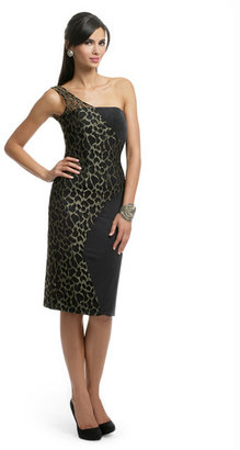 Christian Cota Metallic Animal Lace Dress