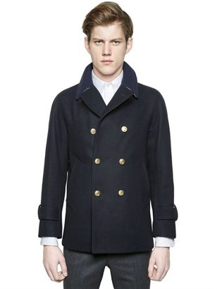 Thom Browne Double Breasted Wool Peacoat