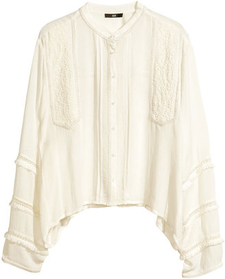 H&M Embroidered Blouse - Natural white - Ladies