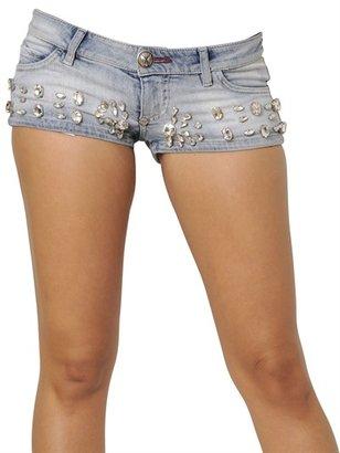 Philipp Plein Crystals On Cotton Denim Shorts