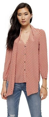Juicy Couture Silk Printed Tie Neck Blouse