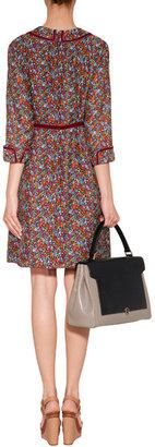 Anna Sui Merlot-Multi Chrysanthemum Print Silk Dress