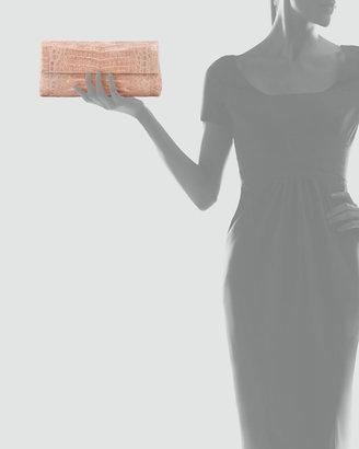 Nancy Gonzalez Flap-Top Crocodile Clutch Bag, Nude