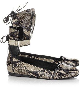 Ancient Greek Sandals Natural Snake Lace-Up Pumps