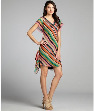Phoebe Couture pink and green striped crinkle chiffon flutter sleeve dress