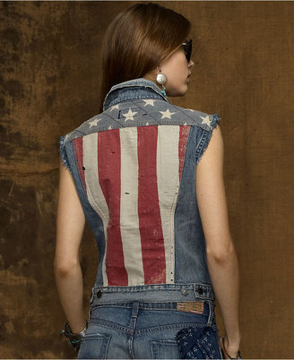 Denim & Supply Ralph Lauren American-Flag-Printed Denim Vest, Indigo Flag Wash