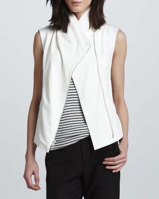 Vince Mix-Fabric Asymmetric Vest