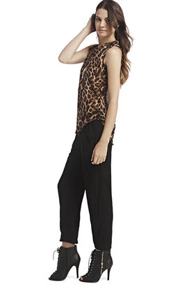 Wet Seal Leopard Chiffon Popover Top