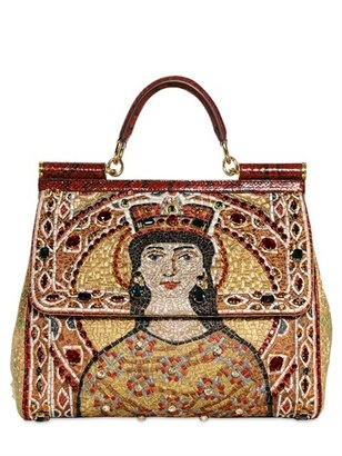 Dolce & Gabbana Embroidered Miss Sicily Top Handle Bag