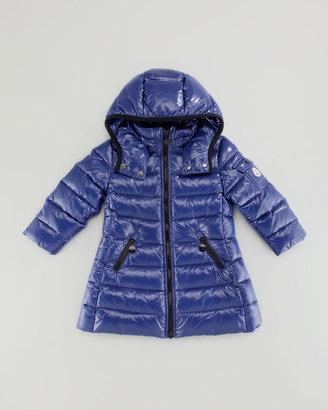 Moncler Girls' Long Moka Hooded Jacket, Black