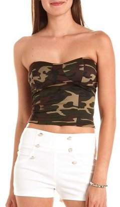 Charlotte Russe Camouflage Print Tube Top