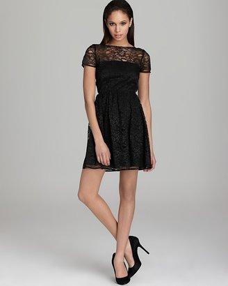 Aqua Lace Dress - Illusion Short Sleeve