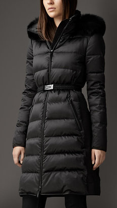 Burberry Fur Trim Technical Satin Puffer Coat