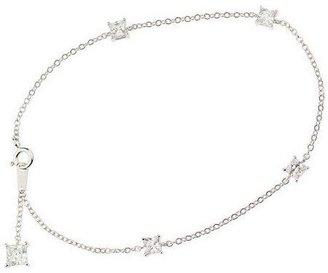 "Diamonique 10"" Ankle Bracelet, Platinum Clad"