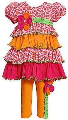 Bonnie Jean 2T-6X Floral Mixed-Media Dress & Leggings Set