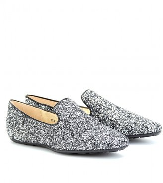 Jimmy Choo WHEEL GLITTER SLIPPER-STYLE LOAFERS