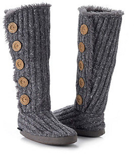 Muk Luks Malena Fur Lined Button Up Slipper Boots