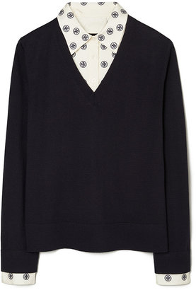 Tory Burch Dickie V-Neck Layered Sweater