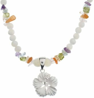 Lee Sands Sterling Hibiscus Flower Pendant w/Beaded Necklace