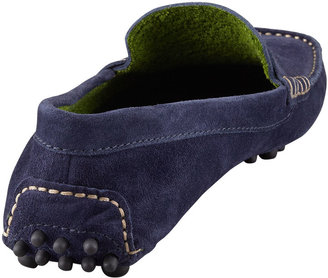 Manolo Blahnik Terry-Trimmed Suede Driver, Navy