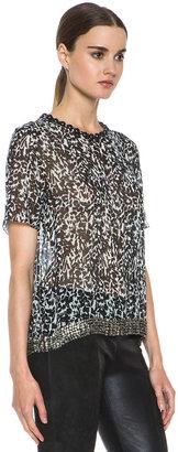 Isabel Marant Owen Silk Georgette Leopard Top in Black
