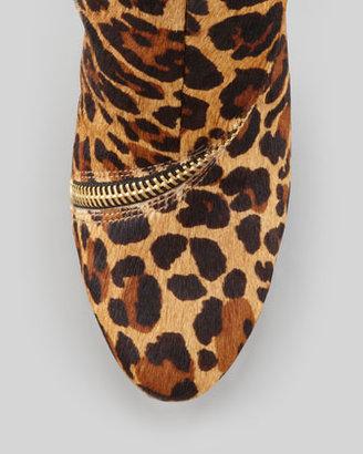 Diane von Furstenberg Candy Leopard-Print Calf Hair Zip-Trim Bootie