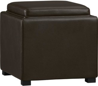 "Crate & Barrel Stow Chocolate 17.5"" Leather Storage Ottoman"