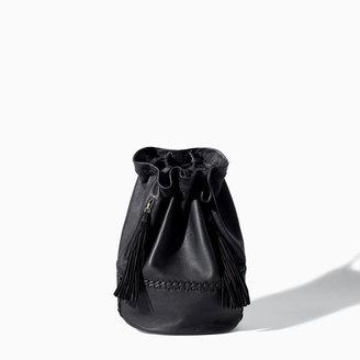 Zara Leather Bucket Rucksack With Tassels