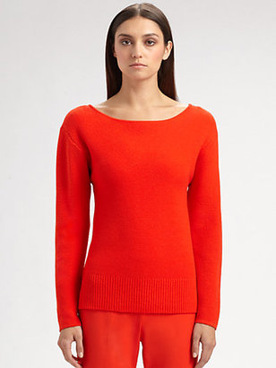 St. John Micro Piqué Knit Wool Sweater