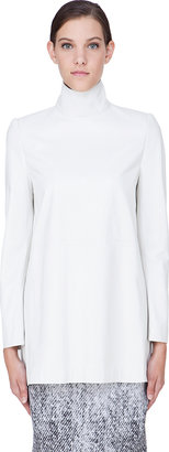 Maison Martin Margiela White Leather Turtleneck Jacket