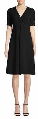 Max Mara V-Neck Short-Sleeve A-Line Dress