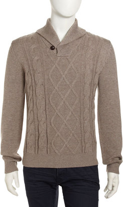 Neiman Marcus Shawl-Collar Cable-Knit Pullover Sweater, Desert Sand