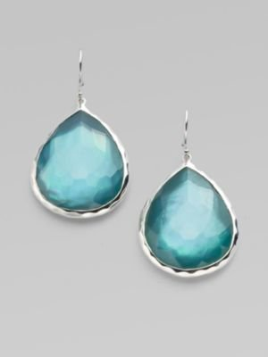 Ippolita Wonderland Denim Mother-of-Pearl, Clear Quartz & Sterling Silver Large Doublet Teardrop Earrings
