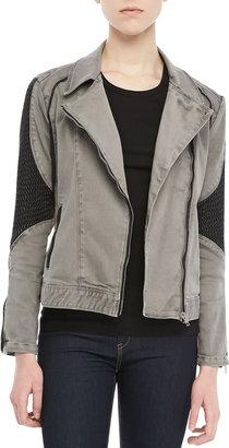 Blank Textured-Panel Moto Jacket