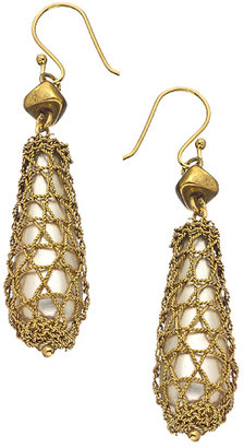 Wendy Mink Gold Mesh Crochet Teardrop Earrings
