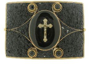 Other Designers Square Mosaic Buckle with Cross in Black