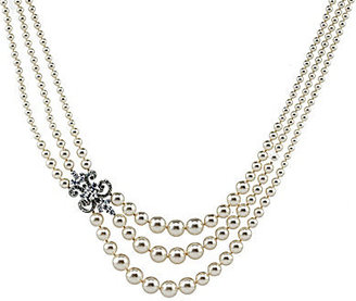 Nadri 3 Row Pearl Statement Necklace