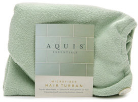 Aquis Essentials Microfiber Hair Turban with Button Closure, Celadon