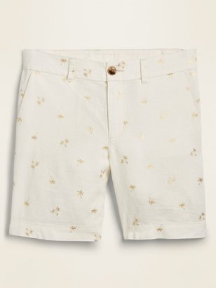 Old Navy Mid-Rise Foil-Print Linen-Blend Everyday Shorts for Women -- 7-inch inseam