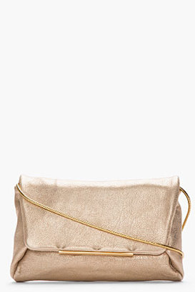 Lanvin Metallic Gold Leather Chain-Strap Clutch