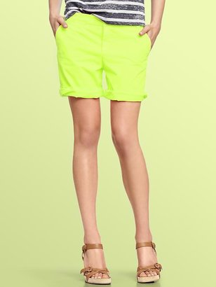 Gap Neon boyfriend roll-up shorts