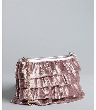 RED Valentino metallic pink sequin ruffles chain strap small shoulder bag