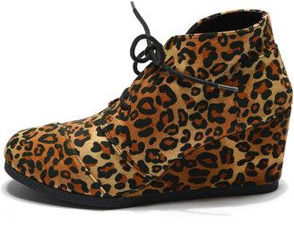 Qupid Leopard Wedge Bootie