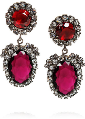 Kenneth Jay Lane Gunmetal-tone crystal clip earrings