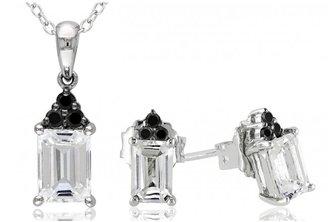 Ice 1/6 CT Black Diamond TW and 2 3/4 CT TGW White Topaz Black Rhodium Set