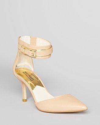 MICHAEL Michael Kors Pointed Toe Pumps - Karlie Back Zip Ankle Strap High Heel