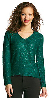 NY Collection Sequin Embellished Pullover Sweater