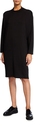 Eileen Fisher Funnel Neck Long Sleeve Jersey Dress