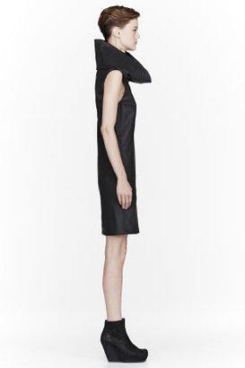Gareth Pugh Black Waxed Cotton Cowlneck Dress